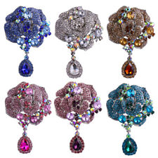 Elegant Flower Silver-plated Large Brooch Pin With Rhinestone Crystal Teardrop