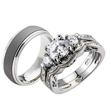 His and Hers Wedding Rings 3 pcs Engagement CZ Sterling Silver Titanium Set DA