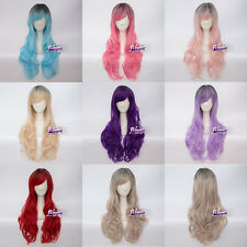 Women's Fashion 8 Colors Long 26 Inches Wavy Cosplay Wig Heat Resistant