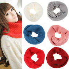 Women Winter Thick Infinity 2 Circle Cable Knitted Cowl Neck Warmer Scarf Shawl