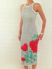 Women Floral Stripy Bodycon Casual Racer Back Sexy Party Midi Dress Size 6-8-14