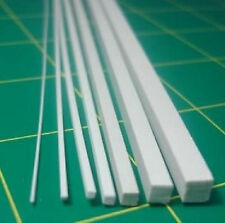 2pcs ABS Styrene Plastic Square Bar Rods Width 0.5 to 5mm *250mm White
