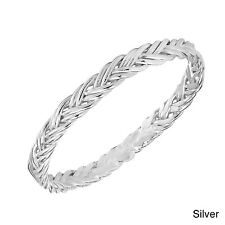 Eternity Double Braid Weave Band Sterling Silver Ring (Thailand)