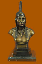 Bronze Sculpture Native Indian Chief Bust 60Lbs Western Statue Figurine Figure