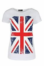 Womens T Shirt Ladies UK Flag Union Jack Slim Fitted Cap Sleeve Round Neck Top