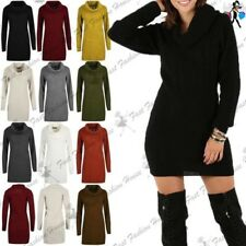 Womens Ladies Cowl Neck Cable Waffle Knitted Oversized Jumper Bodycon Mini Dress