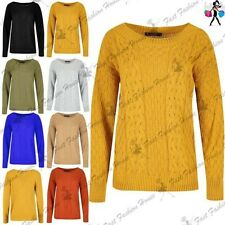 Womens Ladies Grid Chunky Knit Cable Knitted Round Neck Oversized Baggy Jumper