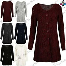Womens Ladies Chunky Knitted Button Up Long Sleeve Baggy Swing Jumper Cardigan