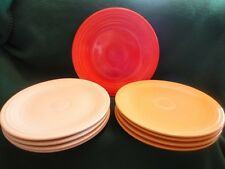 """Fiesta Plates Homer Laughlin Dinner (1)Red 10"""" (4)Ivory (5)Yellow 9.5"""" Vintage"""