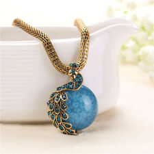 Hot Trendy Stone Round Peacock Pendant Elegant Lady Women Sweater Chain Necklace