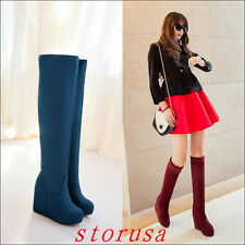Sweet Women Lady Strench Over Knee High Boots Wedge Heel Platform Boots Shoes