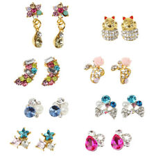 10x 3D Metal Sticker Glitter Rhinestone Colorful Flower Nail Art DIY Decoration
