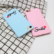 For iPhone 7 7 Plus 6 6S Stylish Smile Heart Shaped Lover Couple Hard Case Cover