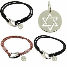 925 Sterling Silver STAR OF DAVID Charm Gift & Leather Bracelet By EDWARD JONES