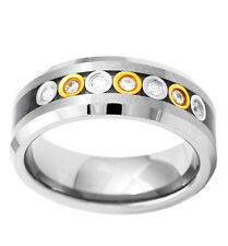 Tungsten 8mm Carbon Fiber Bubble Link CZ Man's Wedding Ring Men Jewelry