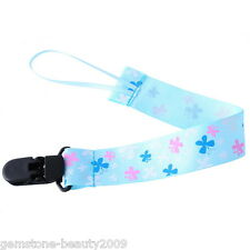 Wholesale HOT! Pacifier Clip With Butterfly Pattern Light Blue Ribbon Holder