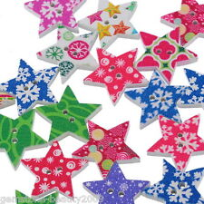 Wholesale HOT! Wooden Buttons Mixed Color Star Xmas Snowflake 2-hole Sewing