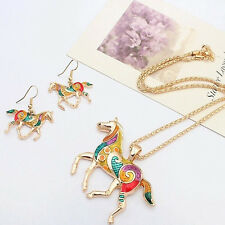 New Style Girl Jewelry Set Necklace Earring Gold Silver Plated Horse Unique Gift