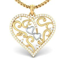 0.37ct Natural IJ SI Diamond Lovely Gift Filigree Heart Pendant Womens 18K Gold