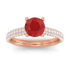 Red Ruby Sparkling IJ SI Diamonds Solitaire Gemstone Ring Women 10K Gold