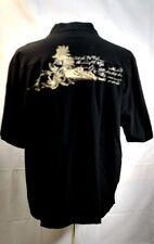 Milano Bay black xxl mens button front short sleeve shirt embroidered on back