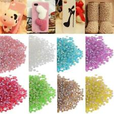 1000pcs New Half Round Acrylic Pearls Flatback Beads For Phone Nail Art Craft