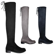 Womens ladies flat thigh high faux suede lace zip winter casual work boots size
