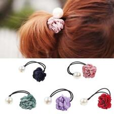 Lady Girls Rose Flower Pearls Hairband Ponytail Holder Hair Band