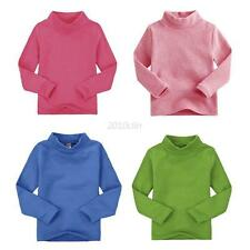 Toddler Baby Kids Warm Long Sleeve T-shirts Tops High Collar Tops Blouse 2-7 T