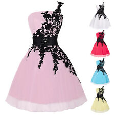 Sweet One Shoulder Ball Cocktail Evening Prom Party Dress Homecoming Applique