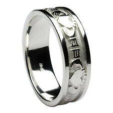 Mens Claddagh Wedding Ring Band Sterling Silver Irish Made