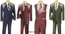 Men's Fashion Suit Single Breasted 2 Buttons Classic Fit With Vest Shark Skin