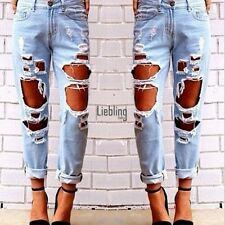 Sexy Women Ripped Hole High Waist Distressed Jeans Denim Blue Size S-XL LEBB