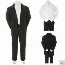 NEW Black Wedding Formal Tuxedo Suit for Baby Toddler & Boy S M L XL 2T 3T 4T-20