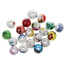 20x Mixed Floral Ceramic Porcelain Beads Ethnic Loose Beads for Jewelry Making