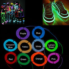 Flexible Neon LED Light Glow EL Wire Strip Rope Tube Decor Car Party +Controller