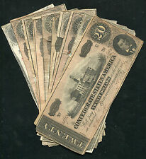 (10) 1863/1864 $20 TWENTY DOLLARS CSA CONFEDERATE STATES OF AMERICA NOTES