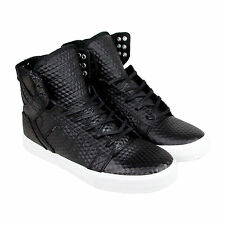 Supra Skytop Mens Black Leather High Top Lace Up Sneakers Shoes