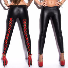 Women's Sexy Black Lace Up Wet Look Faux Leather Trousers Leggings Tight Pants