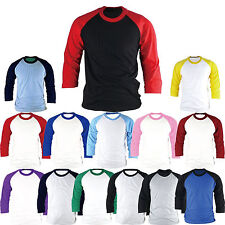 Raglan T-Shirt 3/4 Sleeve Baseball Jersey Round Crew Neck Sports Team Tee New
