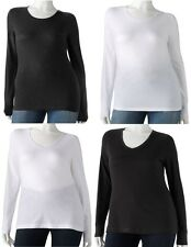 Juniors Womens Plus 1X 2X Solid Black or White Crew or V Neck Tee Shirt Top NEW