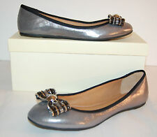 New $198 Coach Delores Dusted Metallic Pewter Silver Ballet Flats Bow Leather