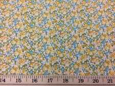 Blue & Yellow Calico Vintage Style Small Floral Flower 100% Cotton Fabric w8/4