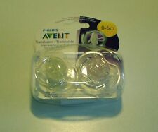NEW - Philips AVENT 0-6m Translucent Pacifier 2-Pack Blue or Pink 0 - 6 months