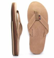 RAINBOW 302ALTS-DKBR DOUBLE LAYER ARCH Mn's (M) Dark Brown Pem Leather Sandals