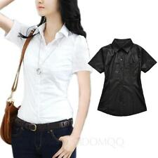 Short Sleeve Shirt Career Oxford blouse Ladies Casual Office Vintage Top Size