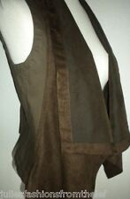 CALVIN KLEIN MS SZ MEDIUM SLATE BROWN FAUX SUEDE OPEN FRONT SHAWL COLLAR VEST
