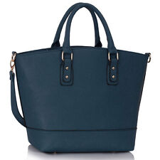 Women's Ladies Stylish Navy Fashion Handbag Tote with Long Strap Shoulder Bag