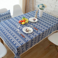 Elegant Blue Elephant Dinning Coffee Table Cotton Linen Cloth Cover T