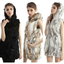 Women Winter Real Rabbit Fur Hooded Vest Gilet Waistcoat Slim Warm New 3 Colors